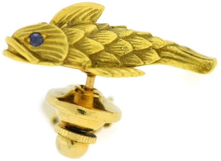 Tiffany & Co. 18K Yellow Gold Schlumberger Sapphire Fish Pin Brooch