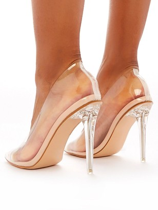 Public Desire Drank Clear Plastic Heeled Shoes - Nude