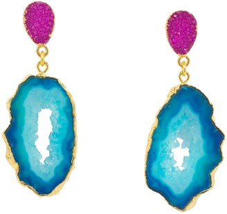 Yaa Yaa London Blue Pink 'African Slice' Gemstone Gold Earrings