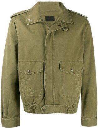 Saint Laurent Patch Pocket Detail Aviator Jacket