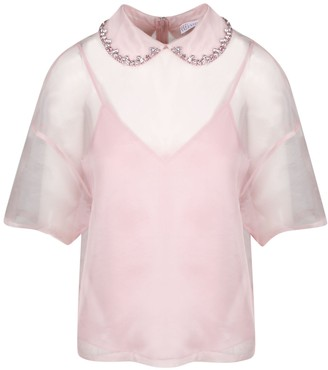 RED Valentino Strass Embroidery Organza Shirt