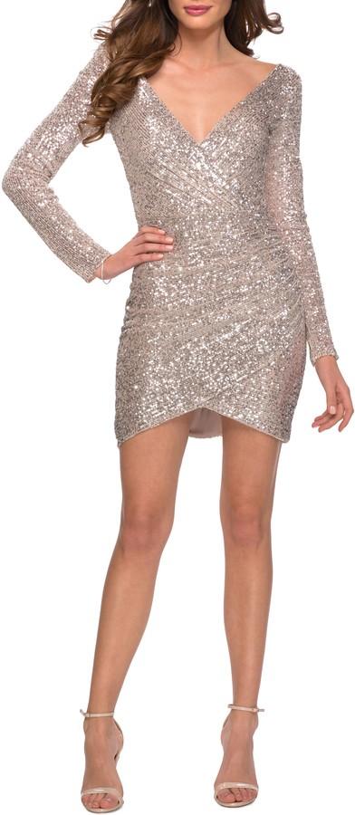 La Femme Sequin Long Sleeve Sheath Dress