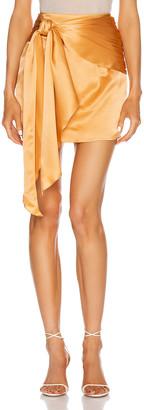 Mason by Michelle Mason for FWRD Mini Sash Skirt in Apricot | FWRD