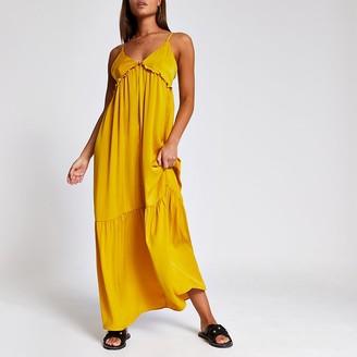 River Island Yellow frill V neck cami maxi dress