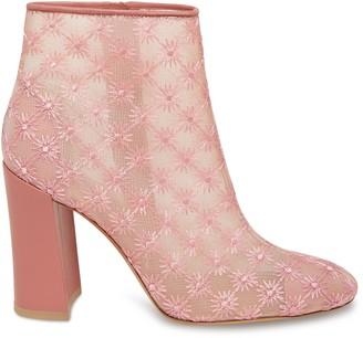 Mansur Gavriel Floral Embroidered Nylon 95MM Ankle Boot - Blush