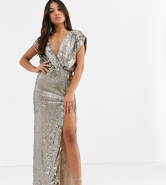 TFNC Petite sequin wrap front maxi dress in gold and silver