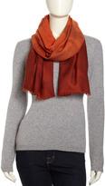 Neiman Marcus Dip-Dye Dotted Wool Wrap, Orange