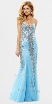 Faviana Sequin Trim Mesh Evening Dresses