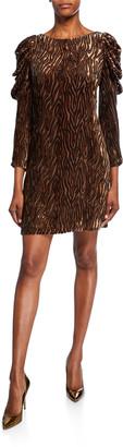 Elie Tahari Alex Bateau-Neck Ruched Long-Sleeve Dress