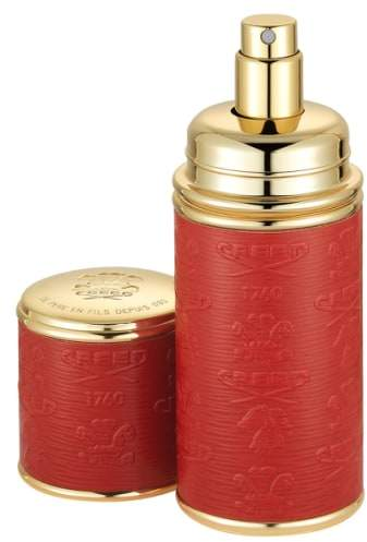 Creed Red with Gold Trim Leather Atomizer