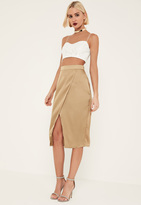 Missguided Tall Nude Satin Wrap Midi Skirt