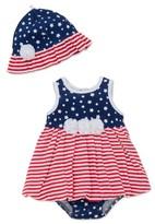 Little Me Infant Girl's Stars & Stripes Popover Dress & Hat Set