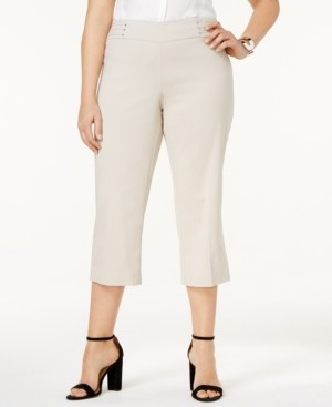 JM Collection Plus Size Tummy Control Pull-On Capri Pants, Created for Macy's