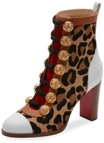 Christian Louboutin Who Dances Button 85mm Red Sole Bootie, Brown Pattern