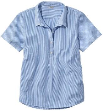 L.L. Bean Women's Vacationland Seersucker Shirt, Short-Sleeve Popover Stripe