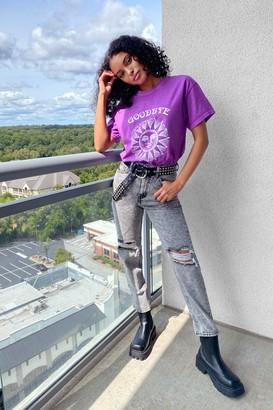 Nasty Gal Womens Never Can Say Goodbye Graphic Tee - Lilac