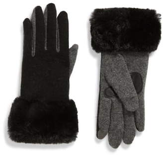 Echo Wool & Cashmere Blend Gloves with Faux Fur Cuff