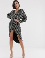 Asos Design DESIGN stripe embellished midi dress with batwing sleeve