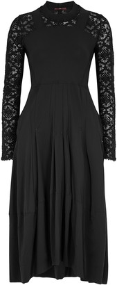 High Mesmerize Black Lace-trimmed Midi Dress