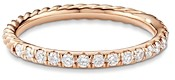 David Yurman Cable Pave Band Ring in 18K Rose Gold with Diamonds