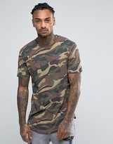 ONLY & SONS Longline T-Shirt With Curved Hem In Camo