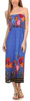 Blue Floral Strapless Silk-Blend Maxi Dress