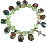 Zeckos Stretch Bracelet W/ Dangling Religious Scenes