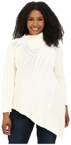 Vince Camuto Specialty Size Plus Size Long Sleeve Asymmetrical Hem Turtleneck Mix Cable Sweater