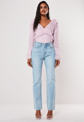 Missguided Lilac Ruched Embellished Detail Ruffle Bodysuit