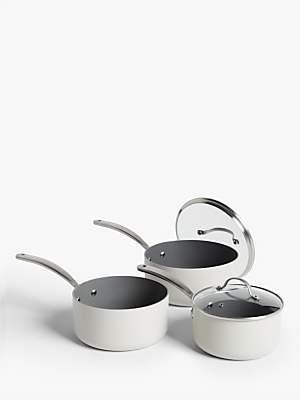 John Lewis & Partners Country Non-Stick Lidded Saucepan Set, 3 Piece, Natural