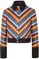 Sara Battaglia Rainbow Cropped Striped Leather Jacket - Blue