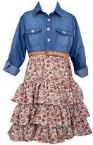 Bonnie Jean Girls 4-6x Denim Floral Tiered Dress