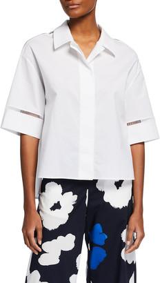 Piazza Sempione Sheer Insert Boxy Cotton Shirt
