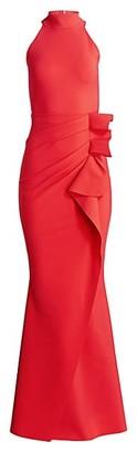 Chiara Boni Halter Ruffle Gown