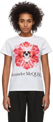 Alexander McQueen White Flower Skull T-Shirt