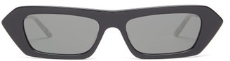 Gucci Crystal-embellished Rectangle Acetate Sunglasses - Womens - Black Grey