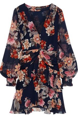 Nicholas Layered Ruched Floral-print Silk-chiffon Mini Dress