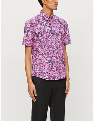 HUGO BOSS Floral-print slim-fit crepe shirt