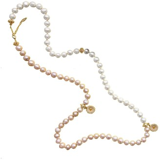 Farra White & Orange Freshwater Pearls With Flower Summer Necklace