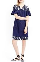J.Crew Petite Women's Bell Sleeve Fringe Dot Dress