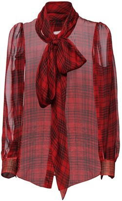 Saint Laurent Check Sheer Silk Muslin Shirt W/ Bow