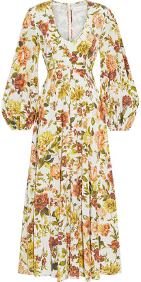 Zimmermann Zippy Plunge Floral-print Silk-blend Crepe De Chine Midi Dress