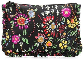 La DoubleJ Floral Zipped Clutch