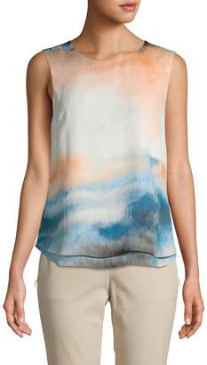 Donna Karan Abstract-Print Sleeveless Top