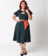 Unique Vintage Plus Size 1940s Emerald Green Floral Ashcroft Swing Dress