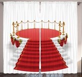 Home Decor Concert Theatre Stage Drapes Silver Gold Cafe Curtains for Dining Room Bedroom Living Kids and Teen Rooms Modern Art Pictures Two Panels Set 108 X 84 Inches Long Curtains, White Red