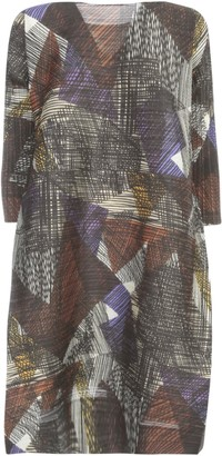 Pleats Please Issey Miyake 3/4 Sleeves Tunic Dress W/ Horizontal Pleats