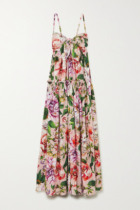 Dolce & Gabbana Tie-front Tiered Floral-print Cotton-poplin Maxi Dress - Pink