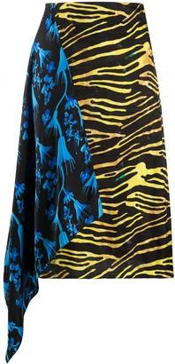 Marine Serre Contrast Panel Asymmetric Skirt