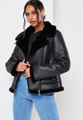 Missguided Black Faux Fur Lined Aviator Jacket